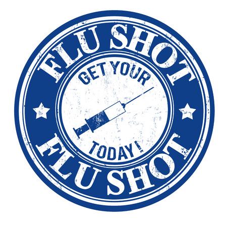 Flu shot, get your today grunge rubber stamp on white, vector illustration