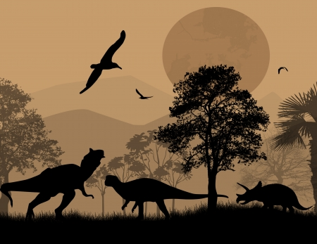 Dinosaurs silhouettes in beautiful landscape at night, vector illustration