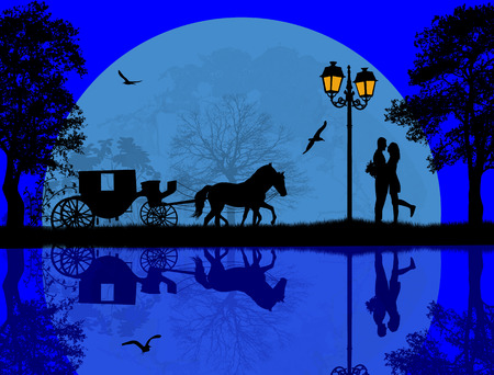 Carriage and lovers at blue night on beautiful landscape near water, vector illustration
