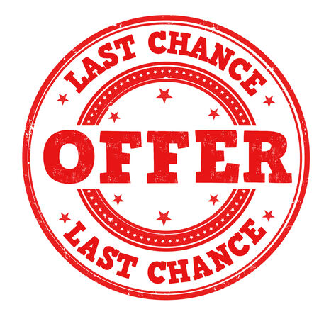 Last chance offer grunge rubber stamp on white, vector illustration
