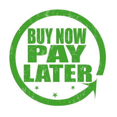 Illustration pour Buy now pay later grunge rubber stamp on white, vector illustration - image libre de droit