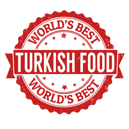 Illustration pour Turkish food grunge rubber stamp on white, vector illustration - image libre de droit