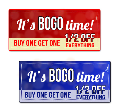 Bogo, Buy One Get one Free Sale coupon, voucher, tag. Red and blue template with frame, dotted line (dash line), vector illustration