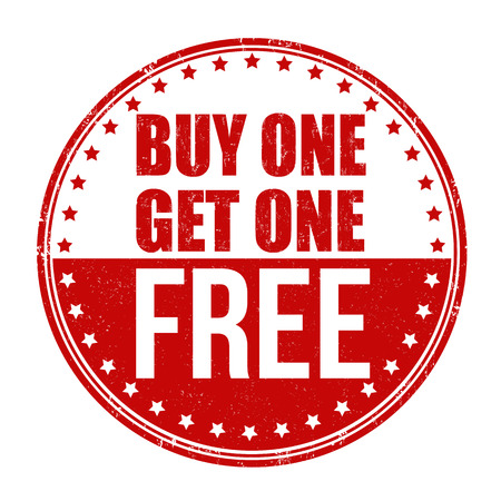 Buy One Get One Free grunge rubber stamp on white background