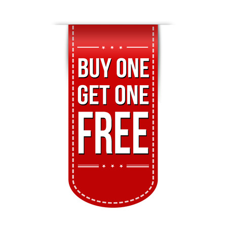 Buy One Get One Free banner design over a white background