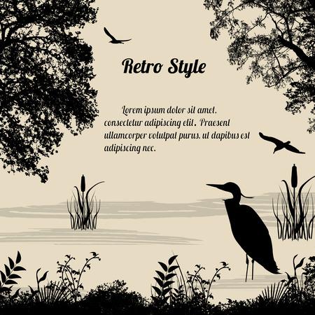 Illustration pour Heron silhouette on lake on retro style background, vector illustration - image libre de droit