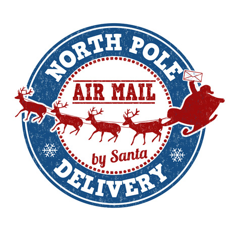North Pole delivery grunge rubber stamp on white background, vector illustration