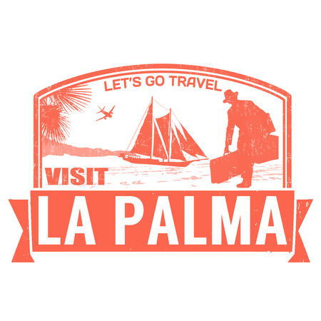 Visit La Palma island grunge rubber stamp on white, vector illustration