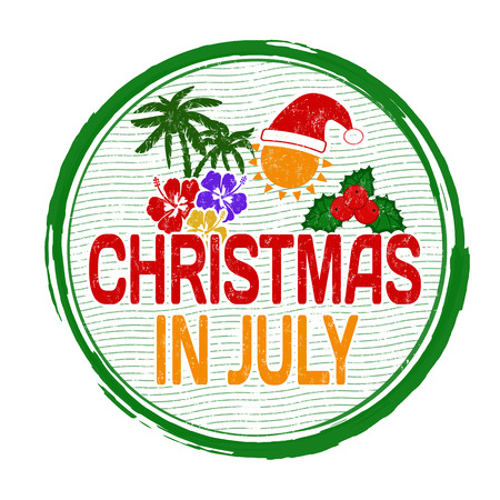 Christmas In July Free Graphics.Christmas In July Grunge Rubber Stamp On White Vector