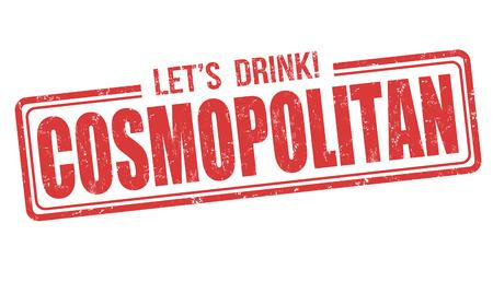 Cosmopolitan cocktail grunge rubber stamp on white background