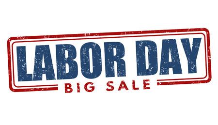 Labor day big sale grunge rubber stamp on white background