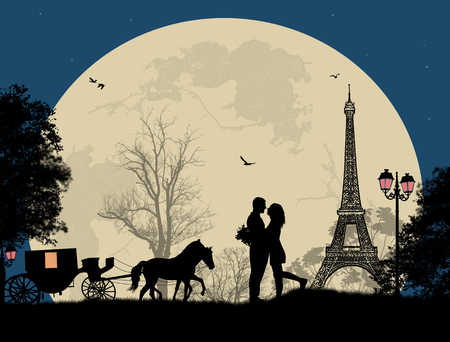 Carriage and lovers at night in Paris, romantic background, vector illustration