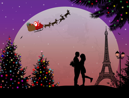 Lovers in Paris, with Santa's sleigh on romantic background, vector illustration
