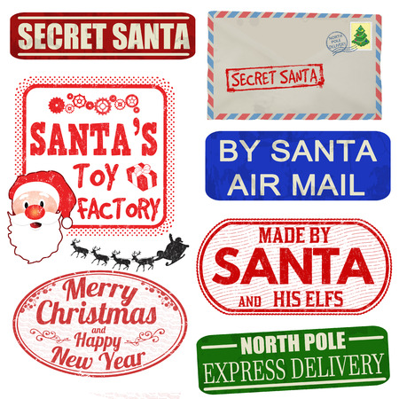 Illustration pour Set of isolated Christmas stamps and labels on white background, vector illustration - image libre de droit