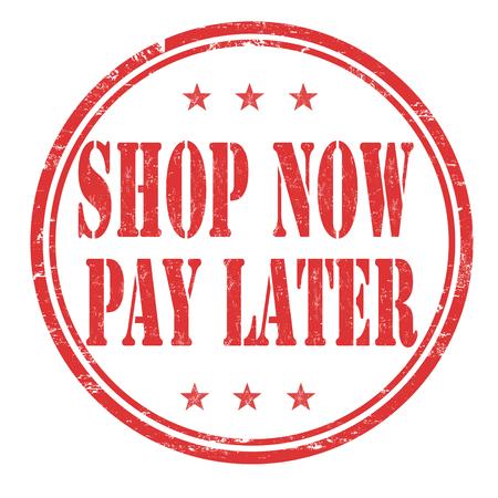 Illustration pour Shop now pay later grunge rubber stamp on white background, vector illustration - image libre de droit