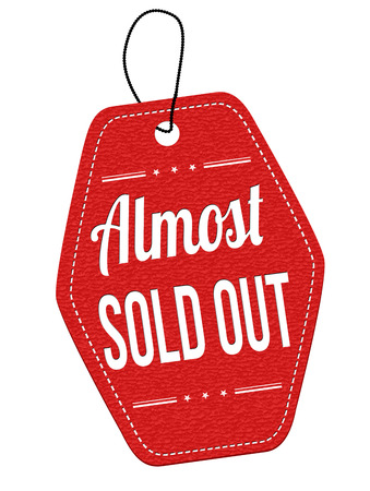 Vektor für Almost sold out red leather label or price tag on white background, vector illustration - Lizenzfreies Bild