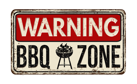 Illustration for Warning BBQ Barbecue zone vintage rusty metal sign on a white background, vector illustration - Royalty Free Image