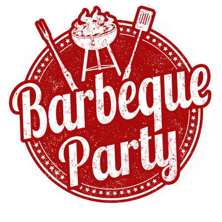 Ilustración de Barbecue party grunge rubber stamp on white background - Imagen libre de derechos