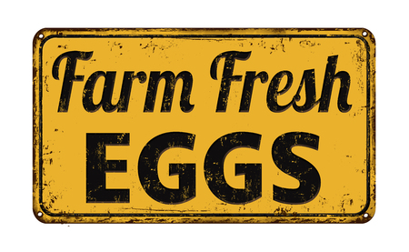 Illustration for Farm fresh eggs on yellow vintage rusty metal sign on a white background, vector illustration - Royalty Free Image