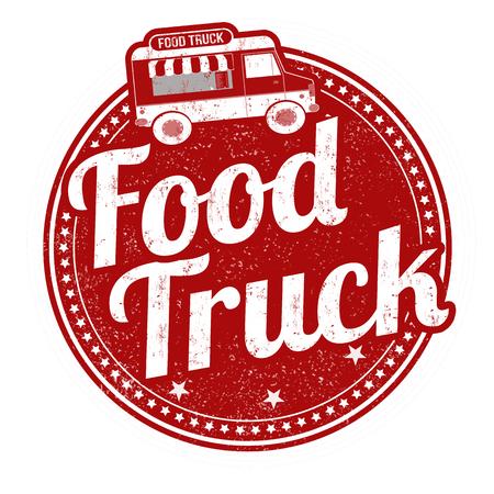 Vektor für Food truck grunge rubber stamp on white background, vector illustration - Lizenzfreies Bild