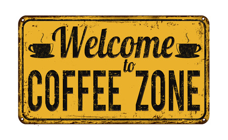 Illustration pour Welcome to coffee zone vintage rusty metal sign on a white background, vector illustration - image libre de droit