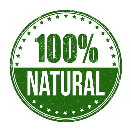 Ilustración de 100% natural grunge rubber stamp on white background, vector illustration - Imagen libre de derechos