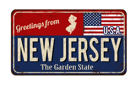 Illustration for Greetings from New Jersey vintage rusty metal sign on a white background, vector illustration - Royalty Free Image