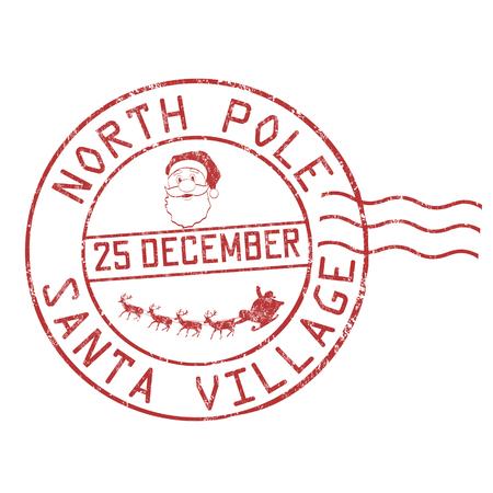 Illustration pour North Pole, Santa village grunge rubber stamp on white background, vector illustration - image libre de droit