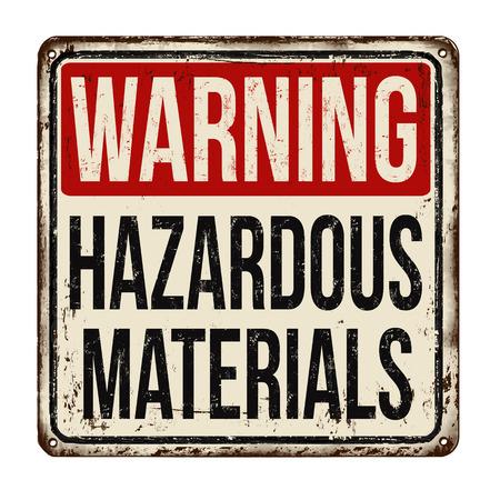 Illustration pour Hazardous materials vintage rusty metal sign on a white background, vector illustration - image libre de droit