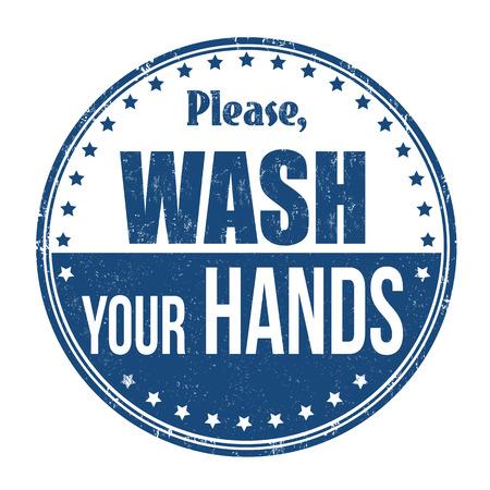 Ilustración de Please wash your hands grunge rubber stamp on white background, vector illustration. - Imagen libre de derechos