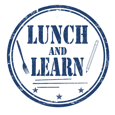 Illustration pour Lunch and learn grunge rubber stamp on white background, vector illustration - image libre de droit