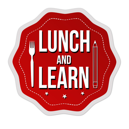 Illustration pour Lunch and learn label or sticker on white background, vector illustration - image libre de droit