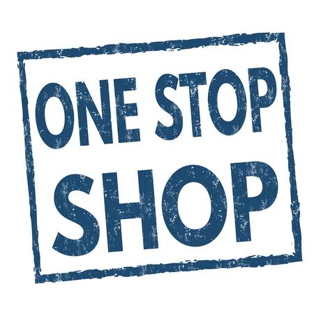 Illustration pour One stop shop grunge rubber stamp on white background, vector illustration - image libre de droit