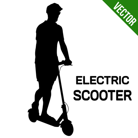 Illustration pour Man silhouette riding electric scooter on white background, vector illustration - image libre de droit
