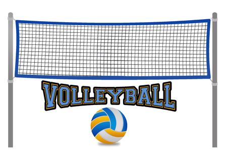 Ilustración de Beach volleyball net and ball on white background, vector illustration - Imagen libre de derechos