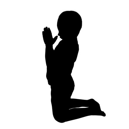 Ilustración de Vector silhouette of a boy who pray on a white background - Imagen libre de derechos