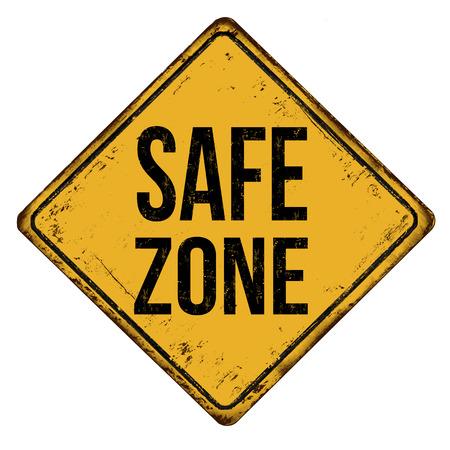 Illustration pour Safe zone vintage rusty metal sign on a white background, vector illustration - image libre de droit
