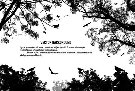 Ilustración de Birds in the tree and flying on white background, vector illustration - Imagen libre de derechos