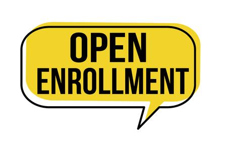Illustration pour Open enrollment speech bubble on white background, vector illustration - image libre de droit