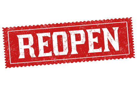 Illustration pour Reopen sign or stamp on white background, vector illustration - image libre de droit