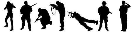 Illustration pour Soldiers silhouettes on white background, vector illustration - image libre de droit