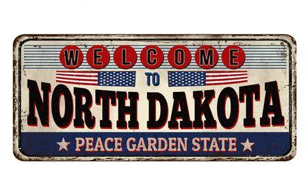 Illustration for North Dakota vintage rusty metal sign on a white background, vector illustration - Royalty Free Image