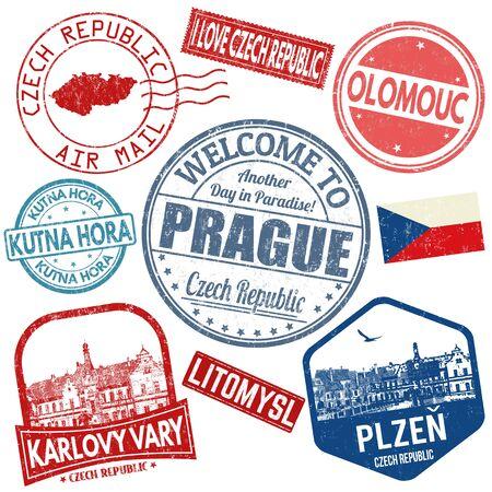 Photo pour Set of travel grunge stamps with Czech Republic on white background, vector illustration - image libre de droit