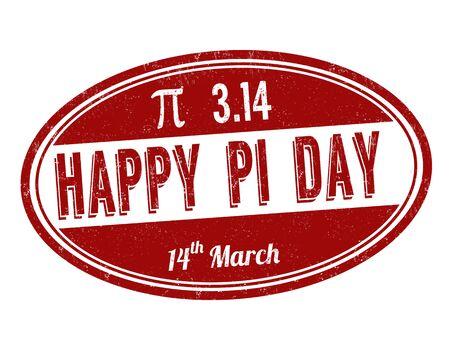 Illustration pour Happy Pi day sign or stamp on white background, vector illustration - image libre de droit