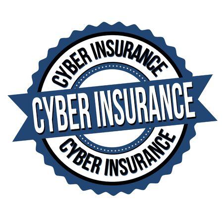 Illustration pour Cyber insurance label or sticker on white background, vector illustration - image libre de droit