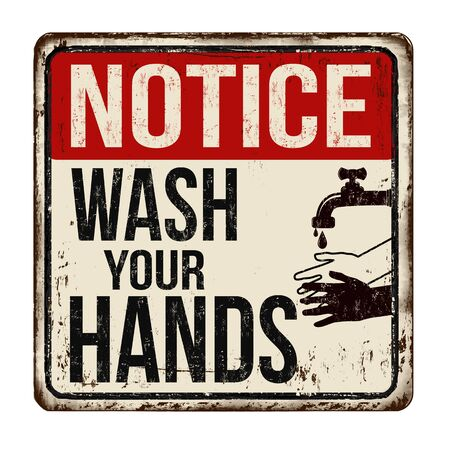 Illustration for Wash your hands vintage rusty metal sign on a white background, vector illustration - Royalty Free Image