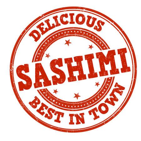 Illustration pour Sashimi grunge rubber stamp on white background, vector illustration - image libre de droit