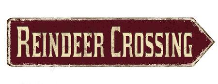 Illustration pour Reindeer crossing vintage rusty metal sign on a white background, vector illustration - image libre de droit