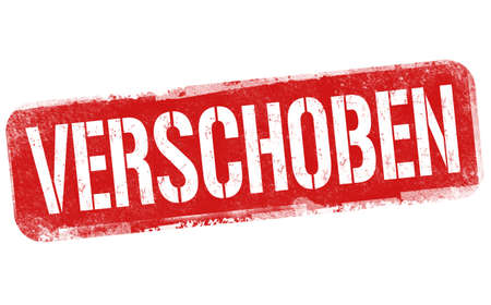 Illustration pour Postponed on german language ( Verschoben )grunge rubber stamp on white background, vector illustration - image libre de droit