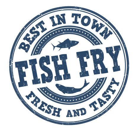 Illustration pour Fish fry grunge rubber stamp on white background, vector illustration - image libre de droit